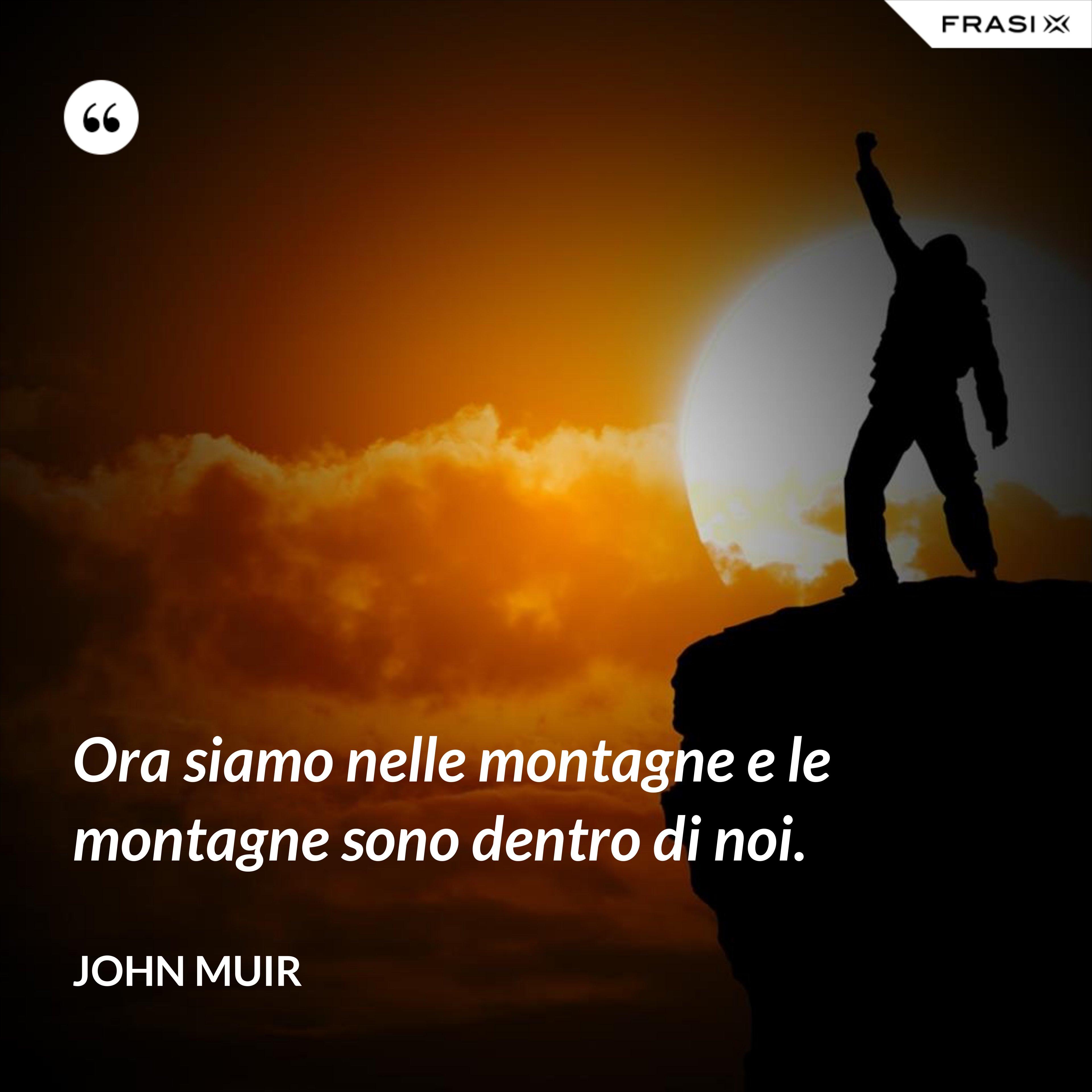 Ora siamo nelle montagne e le montagne sono dentro di noi. - John Muir