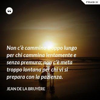 Non c'è cammino troppo lungo per chi cammina lentamente e senza premura; non c'è meta troppo lontana per chi vi si prepara con la pazienza. - Jean De La Bruyère