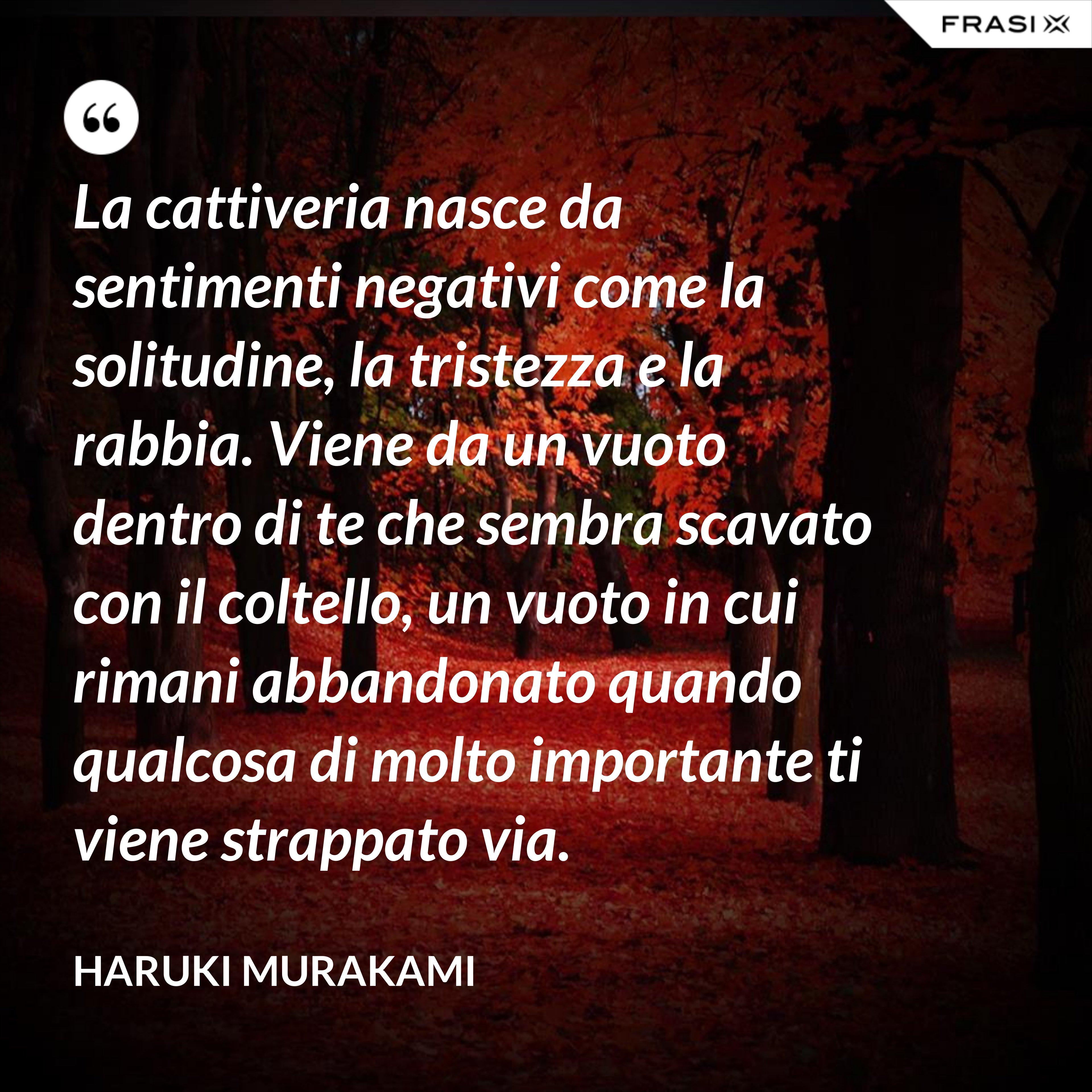 La cattiveria nasce da sentimenti negativi come la solitudine, la tristezza e la rabbia. Viene da un vuoto dentro di te che sembra scavato con il coltello, un vuoto in cui rimani abbandonato quando qualcosa di molto importante ti viene strappato via. - Haruki Murakami