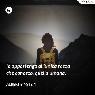 Io appartengo all'unica razza che conosco, quella umana. - Albert Einstein