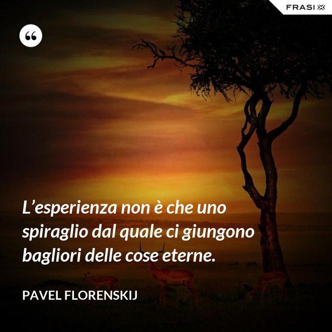L'esperienza non è che uno spiraglio dal quale ci giungono bagliori delle cose eterne. - Pavel Florenskij