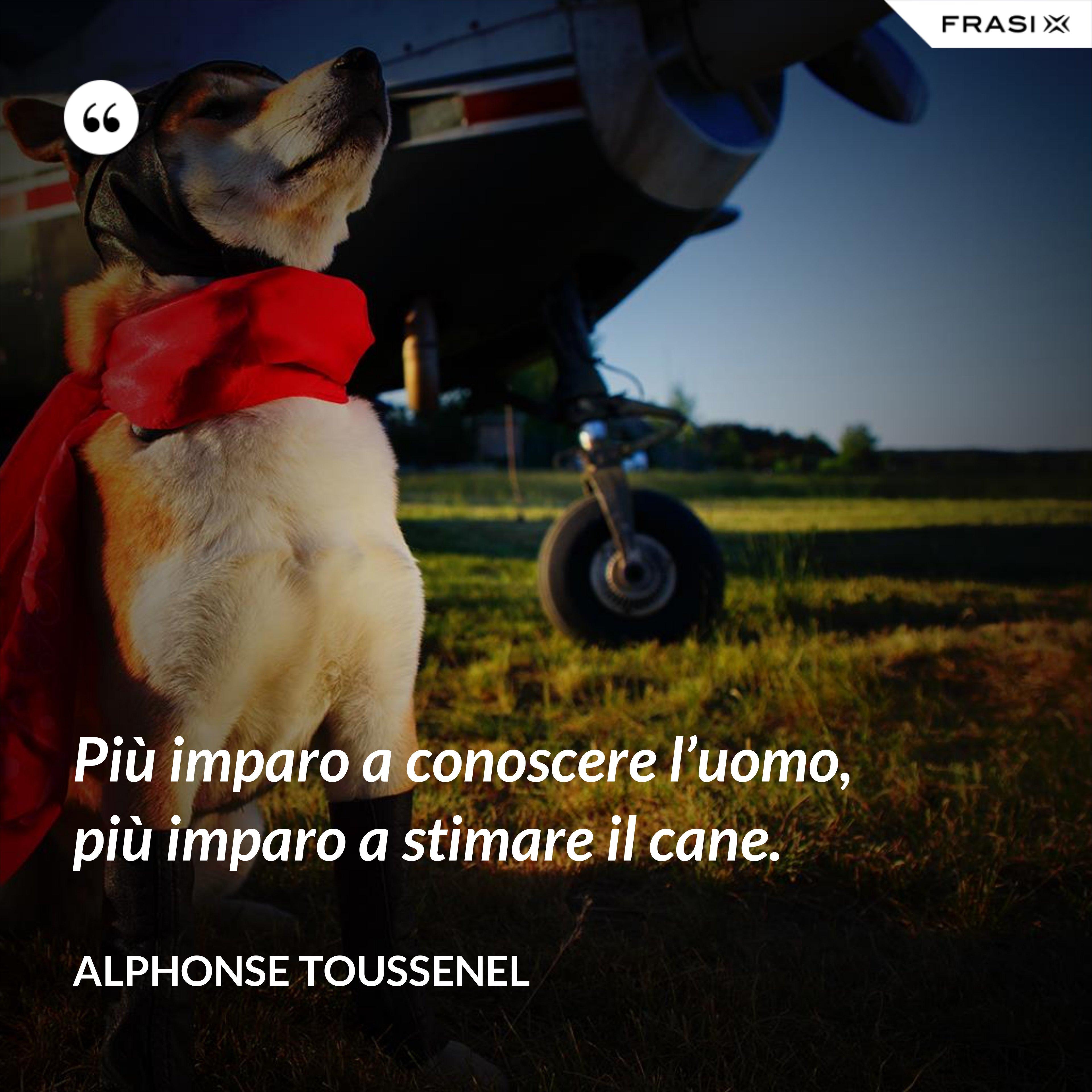 Più imparo a conoscere l'uomo, più imparo a stimare il cane. - Alphonse Toussenel