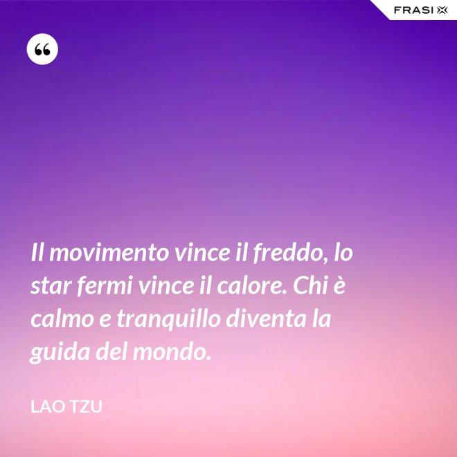 Il movimento vince il freddo, lo star fermi vince il calore. Chi è calmo e tranquillo diventa la guida del mondo. - Lao Tzu