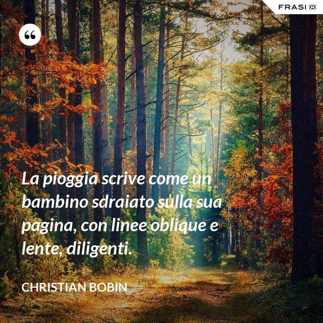 La pioggia scrive come un bambino sdraiato sulla sua pagina, con linee oblique e lente, diligenti. - Christian Bobin