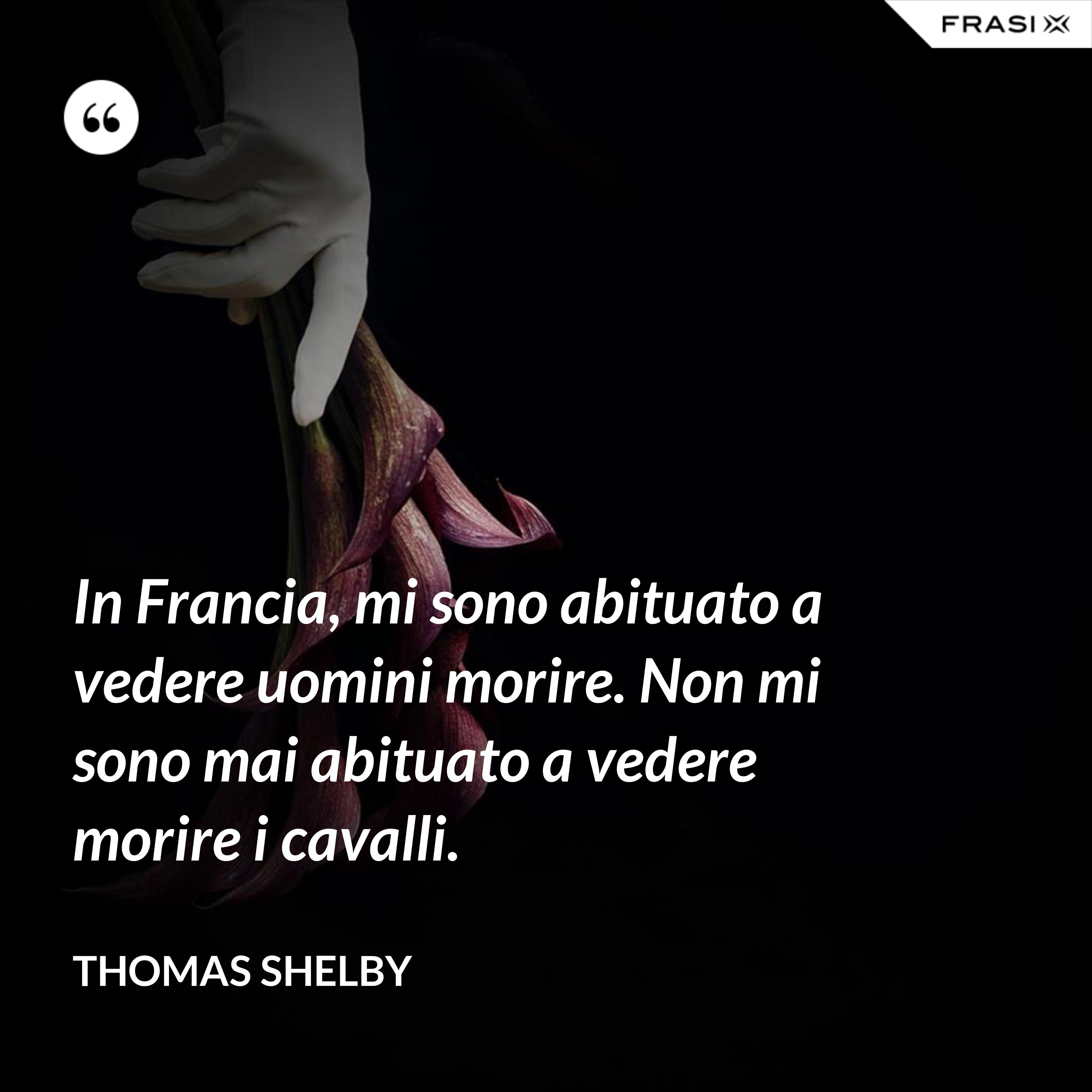 In Francia, mi sono abituato a vedere uomini morire. Non mi sono mai abituato a vedere morire i cavalli. - Thomas Shelby