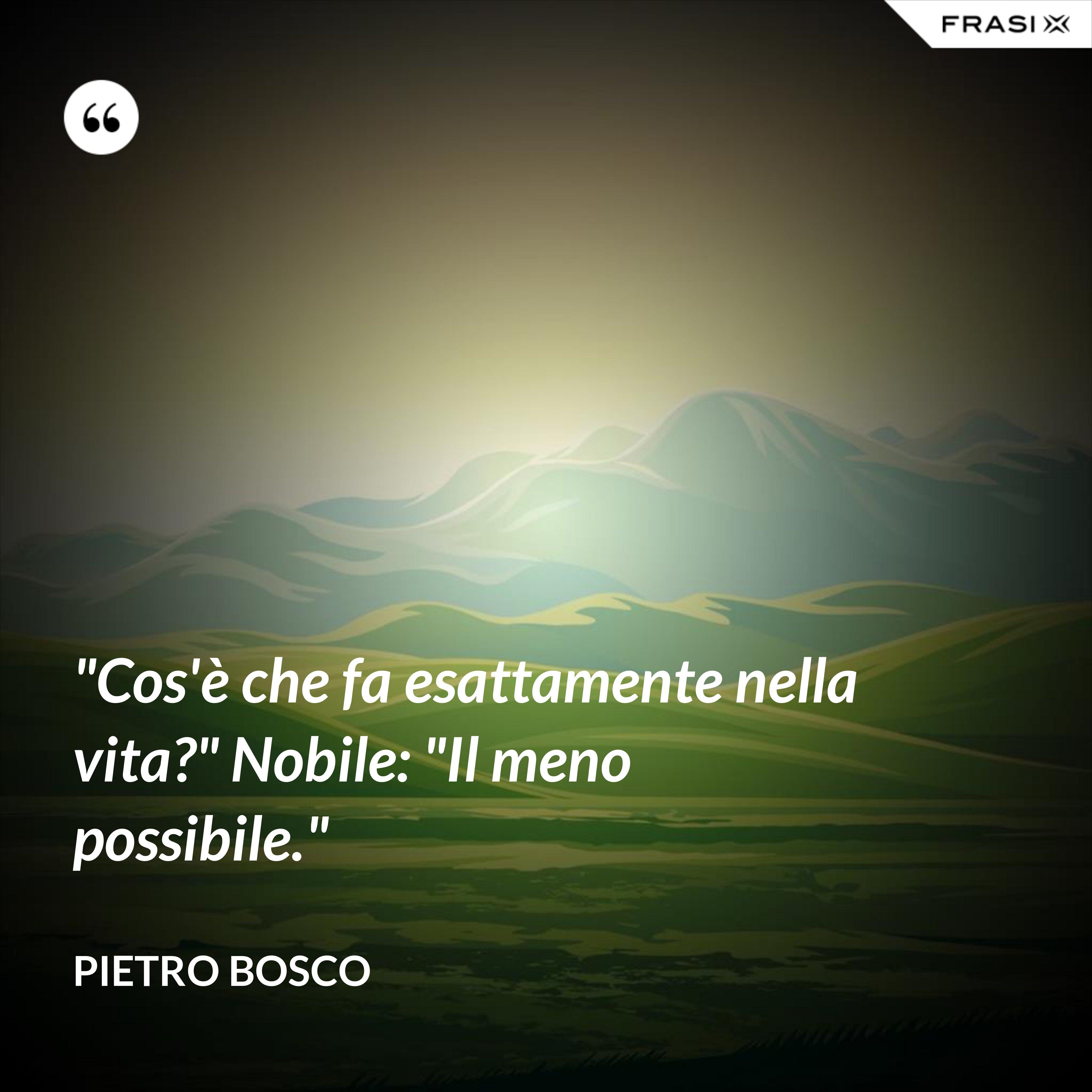 """""""Cos'è che fa esattamente nella vita?"""" Nobile: """"Il meno possibile."""" - Pietro Bosco"""