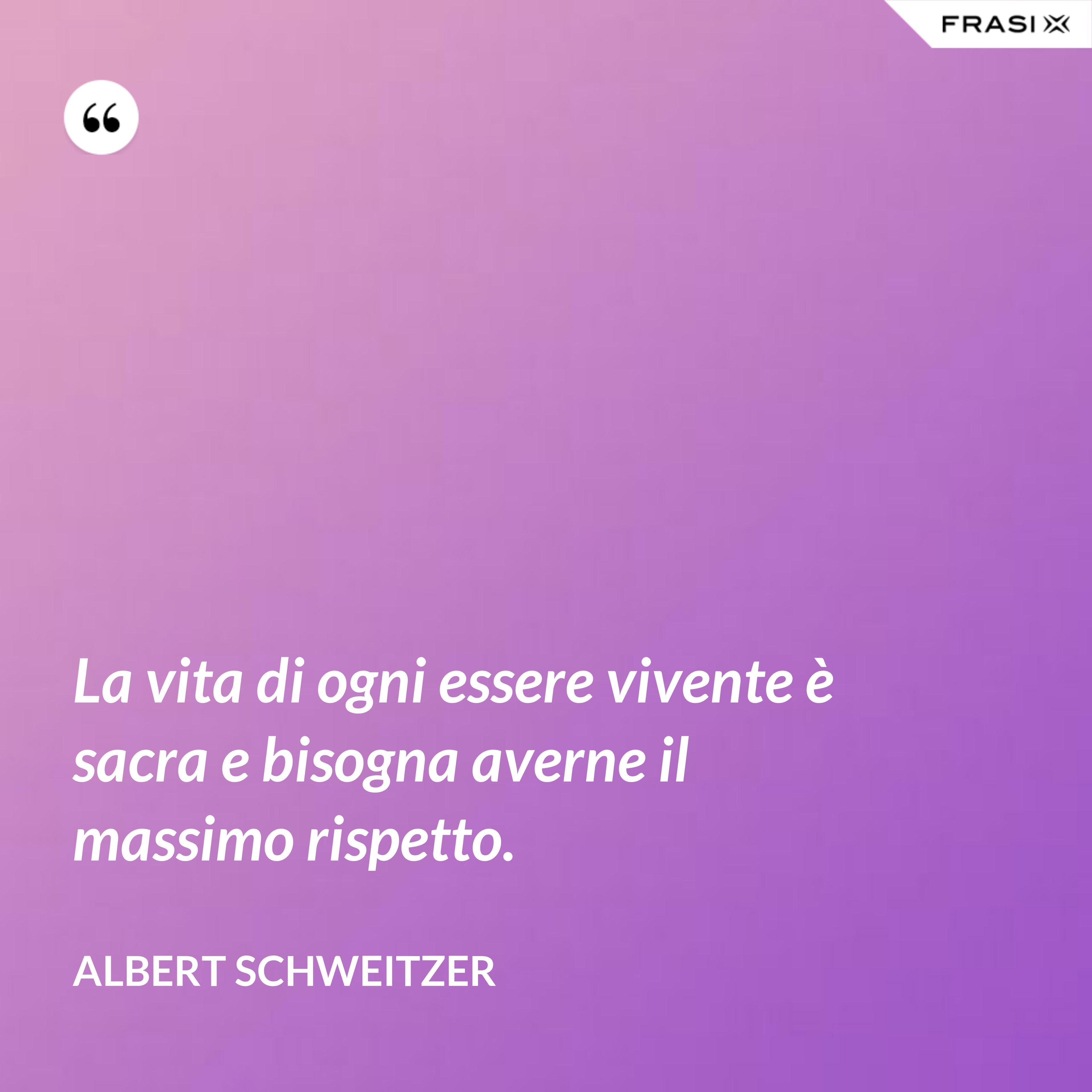 La vita di ogni essere vivente è sacra e bisogna averne il massimo rispetto. - Albert Schweitzer
