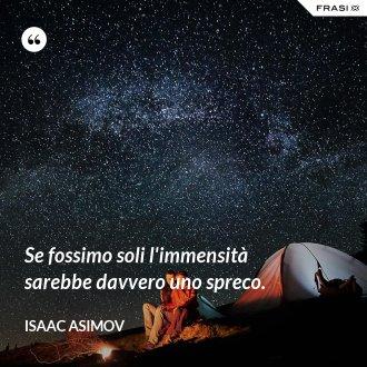 Se fossimo soli l'immensità sarebbe davvero uno spreco. - Isaac Asimov