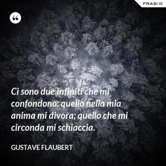 Ci sono due infiniti che mi confondono: quello nella mia anima mi divora; quello che mi circonda mi schiaccia. - Gustave Flaubert