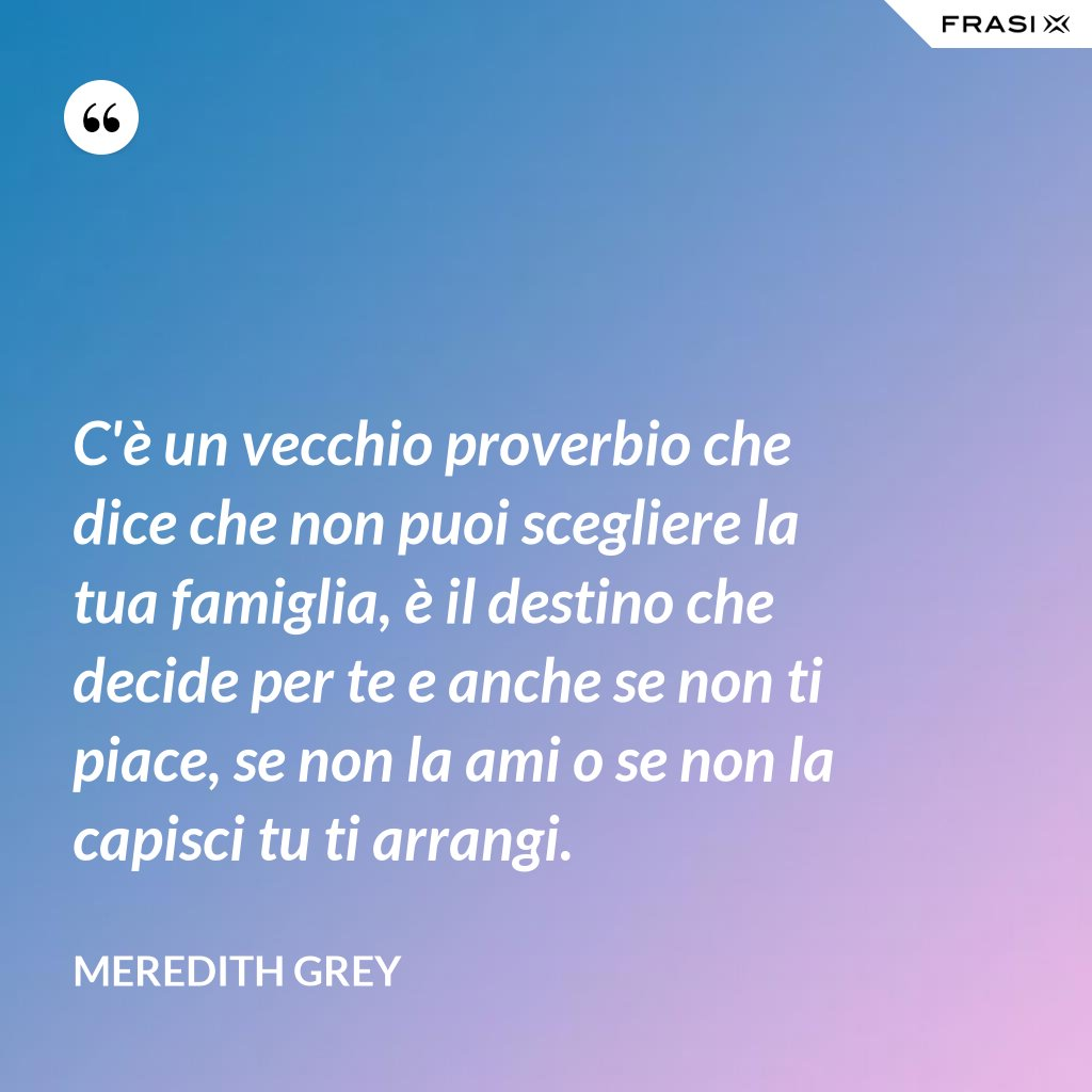 C'è un vecchio proverbio che dice che non puoi scegliere la tua famiglia, è il destino che decide per te e anche se non ti piace, se non la ami o se non la capisci tu ti arrangi. - Meredith Grey