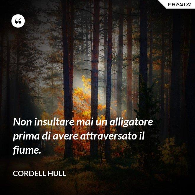 Non insultare mai un alligatore prima di avere attraversato il fiume. - Cordell Hull