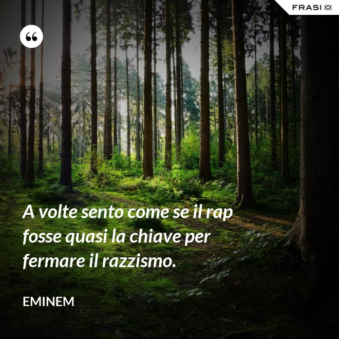 A volte sento come se il rap fosse quasi la chiave per fermare il razzismo. - Eminem