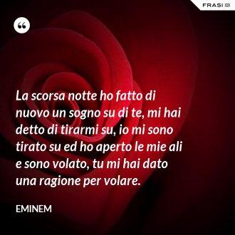La scorsa notte ho fatto di nuovo un sogno su di te, mi hai detto di tirarmi su, io mi sono tirato su ed ho aperto le mie ali e sono volato, tu mi hai dato una ragione per volare. - Eminem