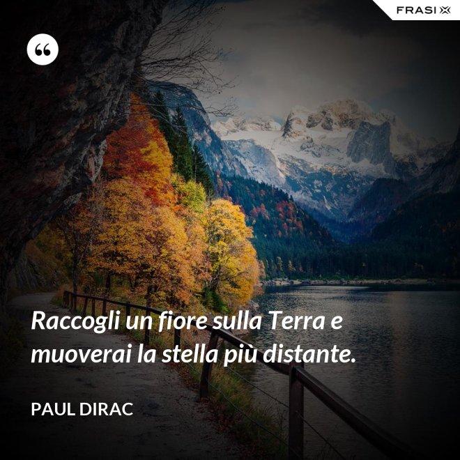 Raccogli un fiore sulla Terra e muoverai la stella più distante. - Paul Dirac