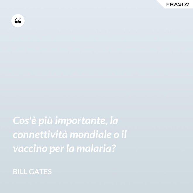 Cos'è più importante, la connettività mondiale o il vaccino per la malaria? - Bill Gates
