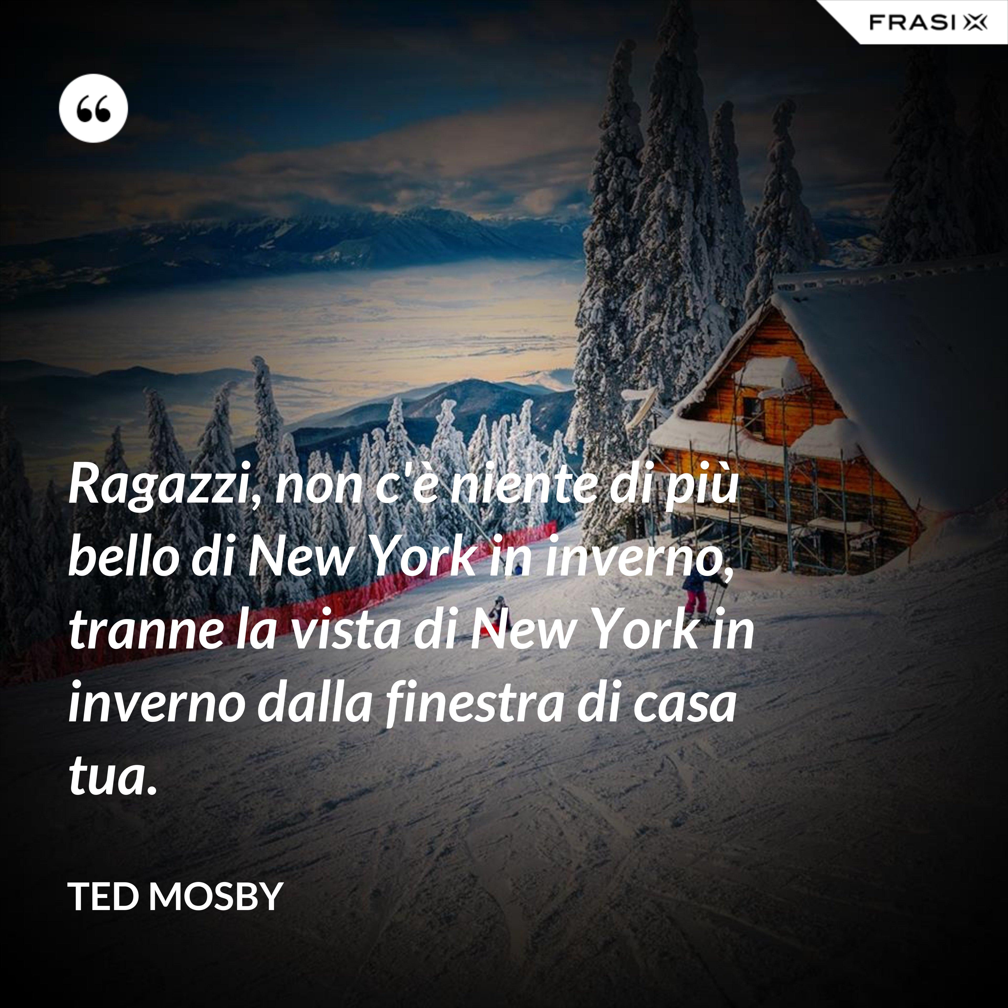 Ragazzi, non c'è niente di più bello di New York in inverno, tranne la vista di New York in inverno dalla finestra di casa tua. - Ted Mosby