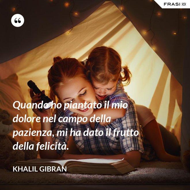 Quando ho piantato il mio dolore nel campo della pazienza, mi ha dato il frutto della felicità. - Khalil Gibran