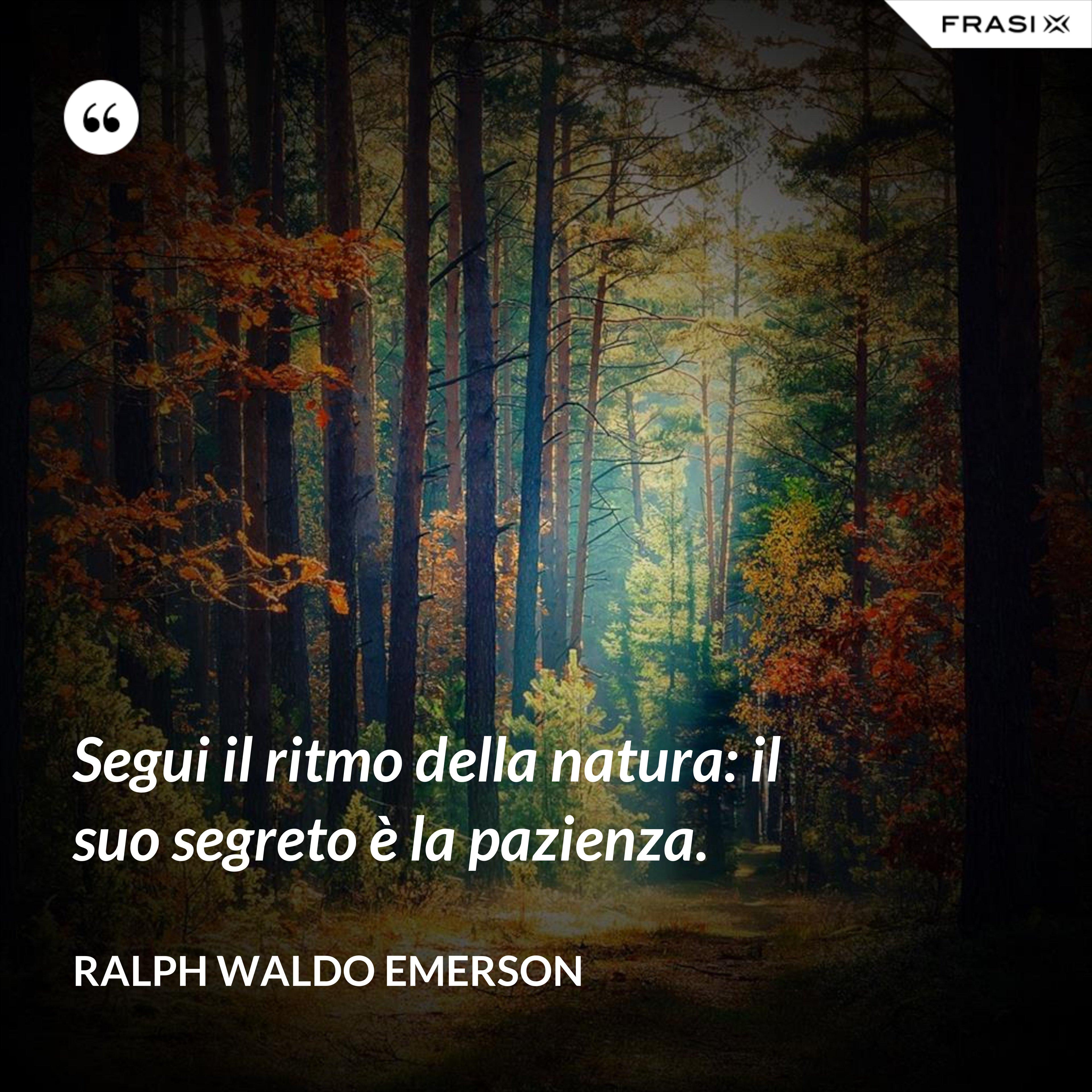 Segui il ritmo della natura: il suo segreto è la pazienza. - Ralph Waldo Emerson