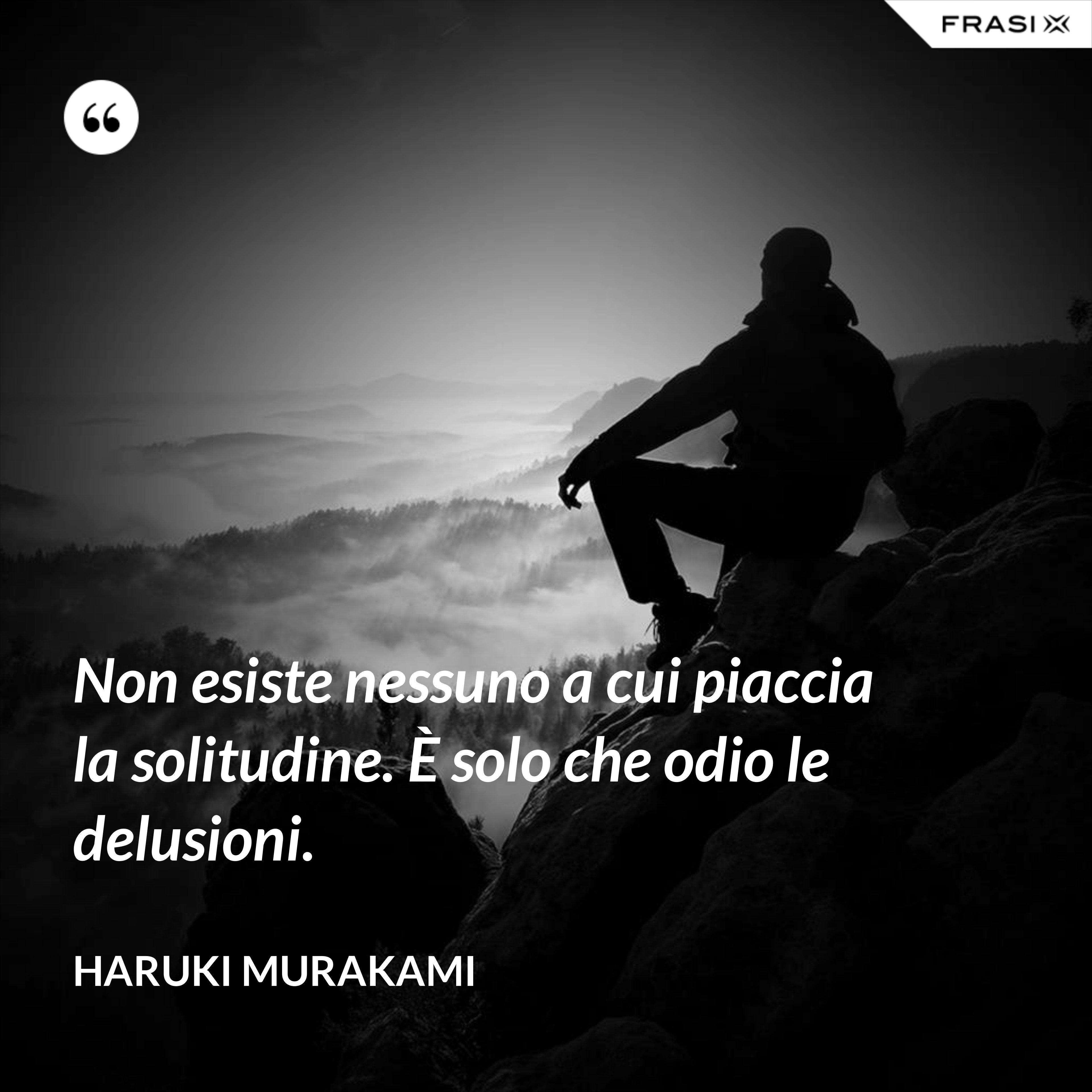 Non esiste nessuno a cui piaccia la solitudine. È solo che odio le delusioni. - Haruki Murakami