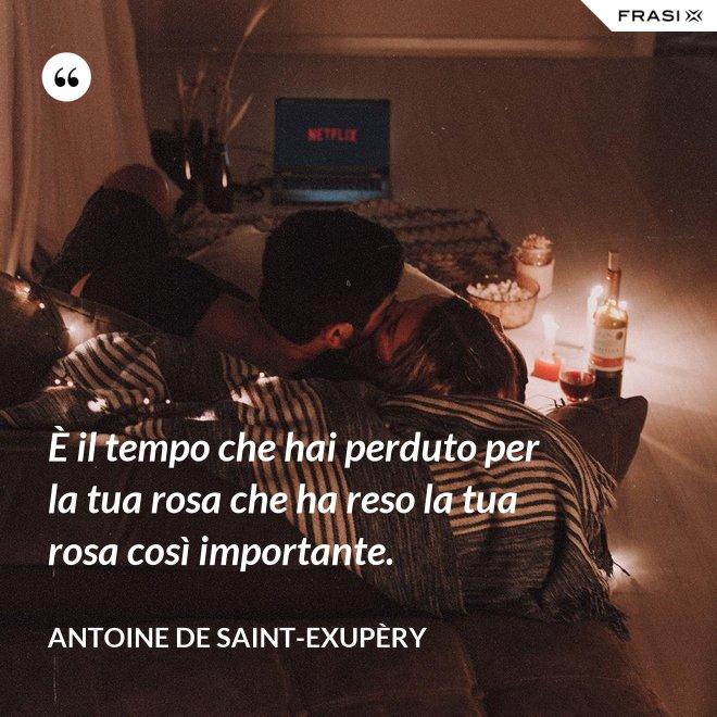 È il tempo che hai perduto per la tua rosa che ha reso la tua rosa così importante. - Antoine de Saint-Exupèry
