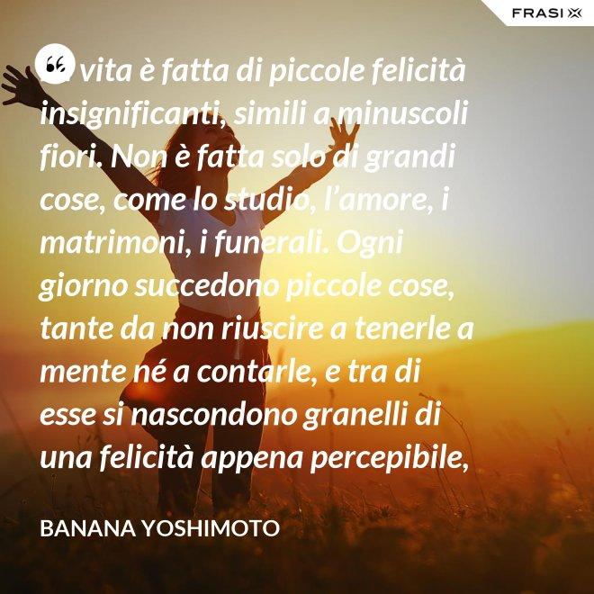 La vita è fatta di piccole felicità insignificanti, simili a minuscoli fiori. Non è fatta solo di grandi cose, come lo studio, l'amore, i matrimoni, i funerali. Ogni giorno succedono piccole cose, tante da non riuscire a tenerle a mente né a contarle, e tra di esse si nascondono granelli di una felicità appena percepibile, che l'anima respira e grazie alla quale vive. - Banana Yoshimoto