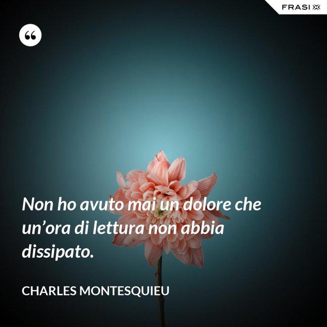 Non ho avuto mai un dolore che un'ora di lettura non abbia dissipato. - Charles Montesquieu