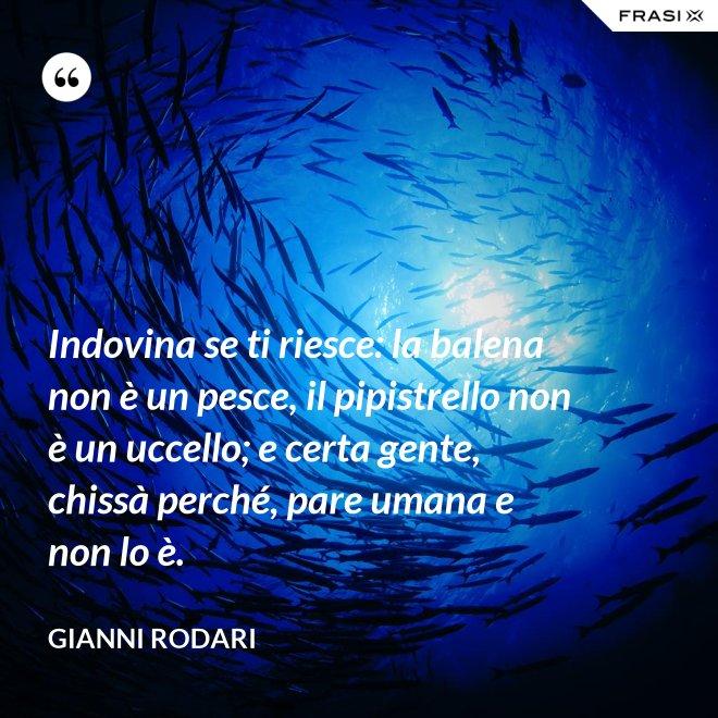 Indovina se ti riesce: la balena non è un pesce, il pipistrello non è un uccello; e certa gente, chissà perché, pare umana e non lo è. - Gianni Rodari