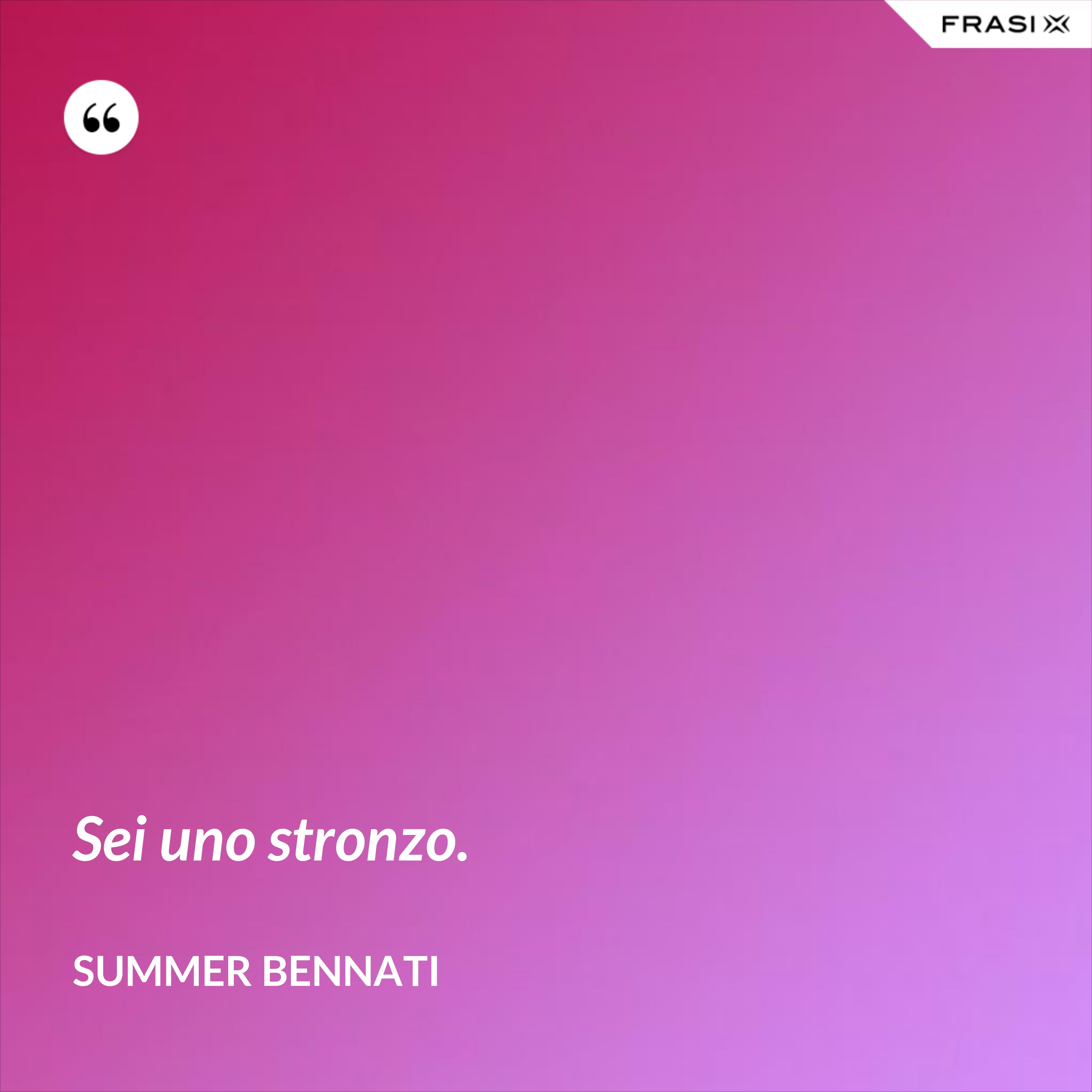 Sei uno stronzo. - Summer Bennati