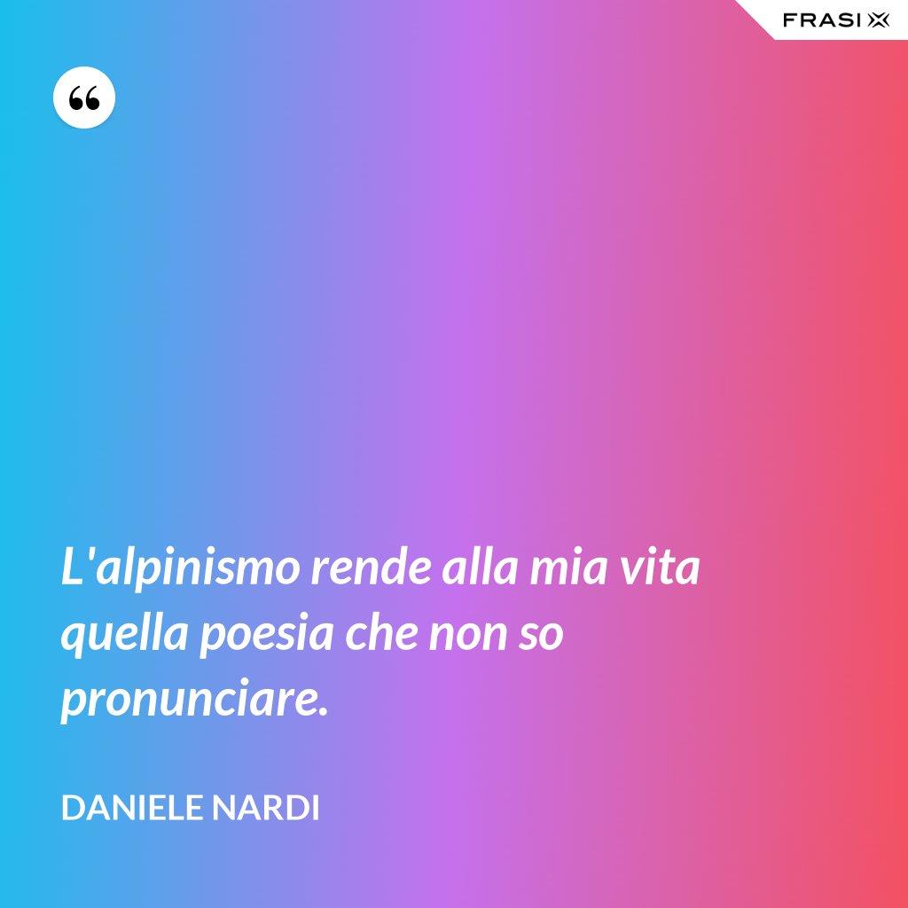 L'alpinismo rende alla mia vita quella poesia che non so pronunciare. - Daniele Nardi