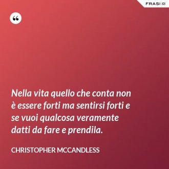 Nella vita quello che conta non è essere forti ma sentirsi forti e se vuoi qualcosa veramente datti da fare e prendila. - Christopher McCandless