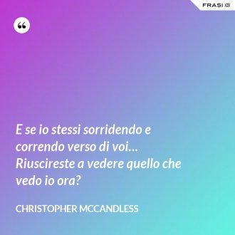 E se io stessi sorridendo e correndo verso di voi… Riuscireste a vedere quello che vedo io ora? - Christopher McCandless