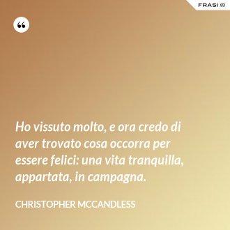 Ho vissuto molto, e ora credo di aver trovato cosa occorra per essere felici: una vita tranquilla, appartata, in campagna. - Christopher McCandless