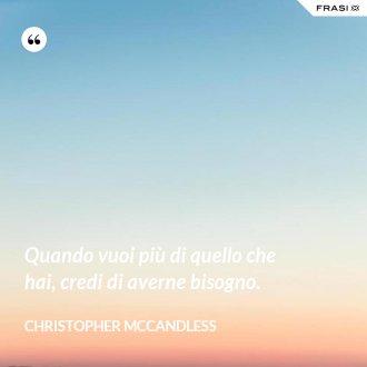 Quando vuoi più di quello che hai, credi di averne bisogno. - Christopher McCandless
