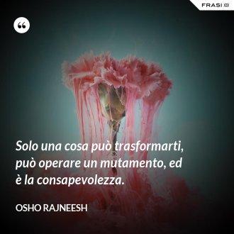Solo una cosa può trasformarti, può operare un mutamento, ed è la consapevolezza.