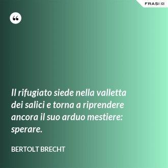 Il rifugiato siede nella valletta dei salici e torna a riprendere ancora il suo arduo mestiere: sperare. - Bertolt Brecht