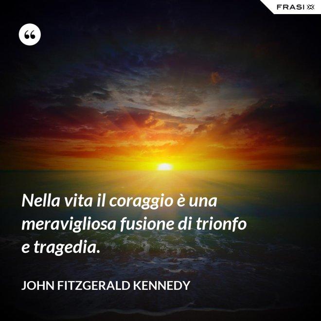 Nella vita il coraggio è una meravigliosa fusione di trionfo e tragedia. - John Fitzgerald Kennedy
