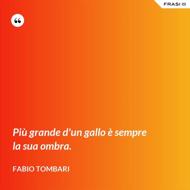 Più grande d'un gallo è sempre la sua ombra. - Fabio Tombari