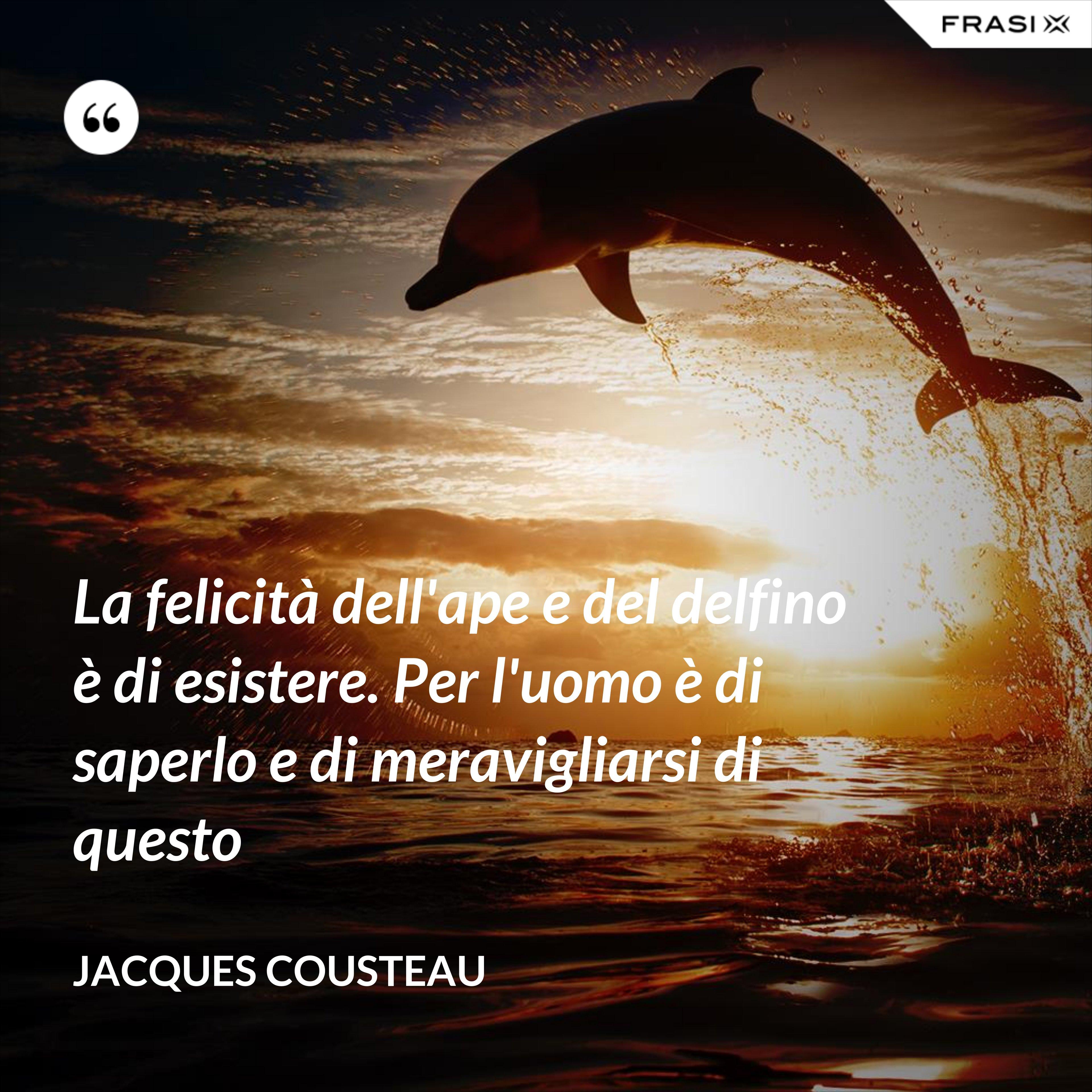 La felicità dell'ape e del delfino è di esistere. Per l'uomo è di saperlo e di meravigliarsi di questo - Jacques Cousteau