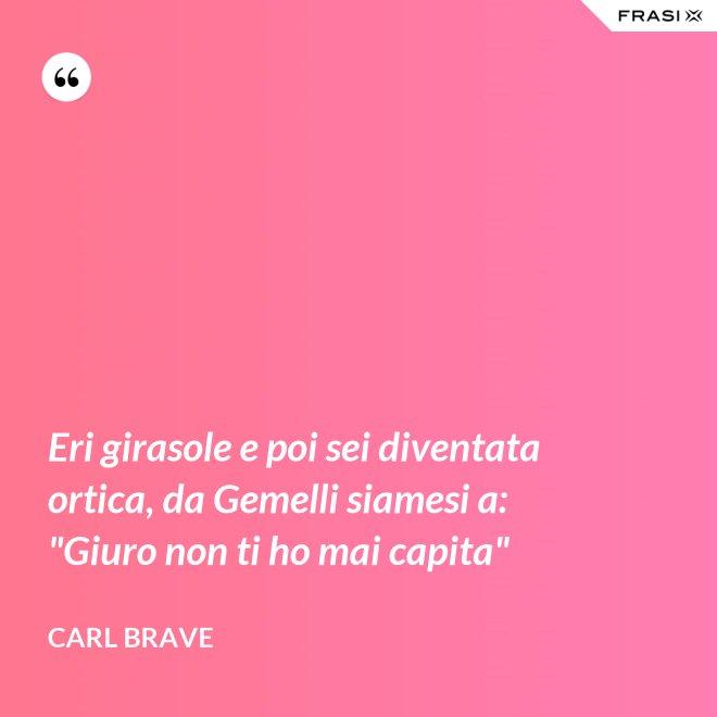 """Eri girasole e poi sei diventata ortica, da Gemelli siamesi a: """"Giuro non ti ho mai capita"""" - Carl Brave"""
