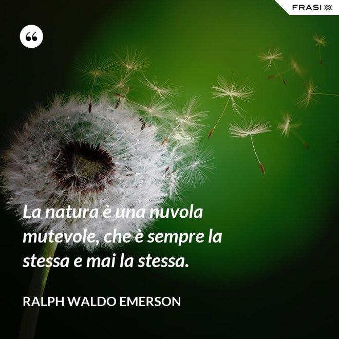 La natura è una nuvola mutevole, che è sempre la stessa e mai la stessa. - Ralph Waldo Emerson
