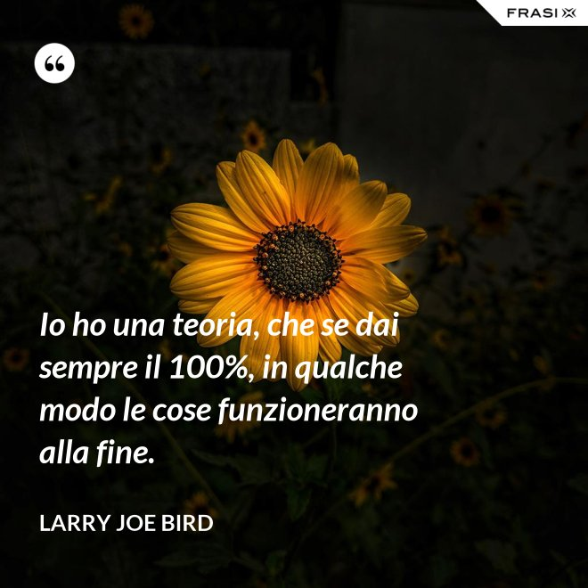 Io ho una teoria, che se dai sempre il 100%, in qualche modo le cose funzioneranno alla fine. - Larry Joe Bird
