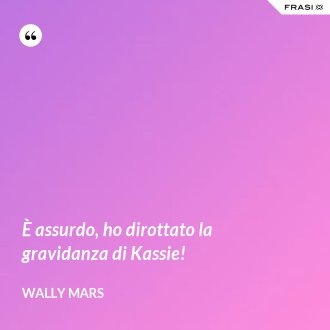 È assurdo, ho dirottato la gravidanza di Kassie! - Wally Mars