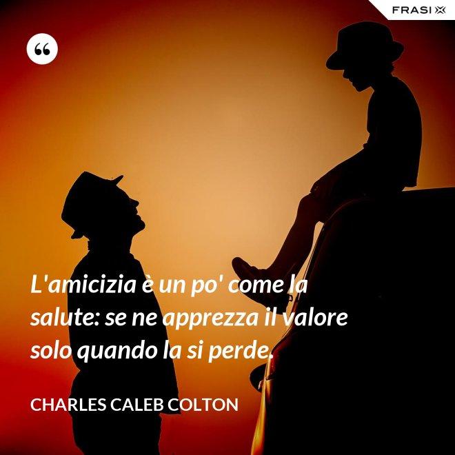 L'amicizia è un po' come la salute: se ne apprezza il valore solo quando la si perde. - Charles Caleb Colton