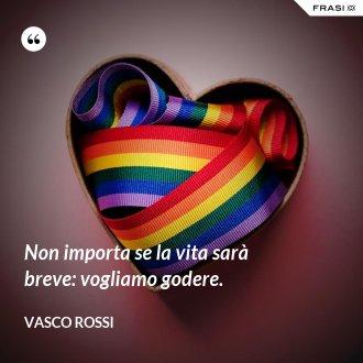 Non importa se la vita sarà breve: vogliamo godere. - Vasco Rossi