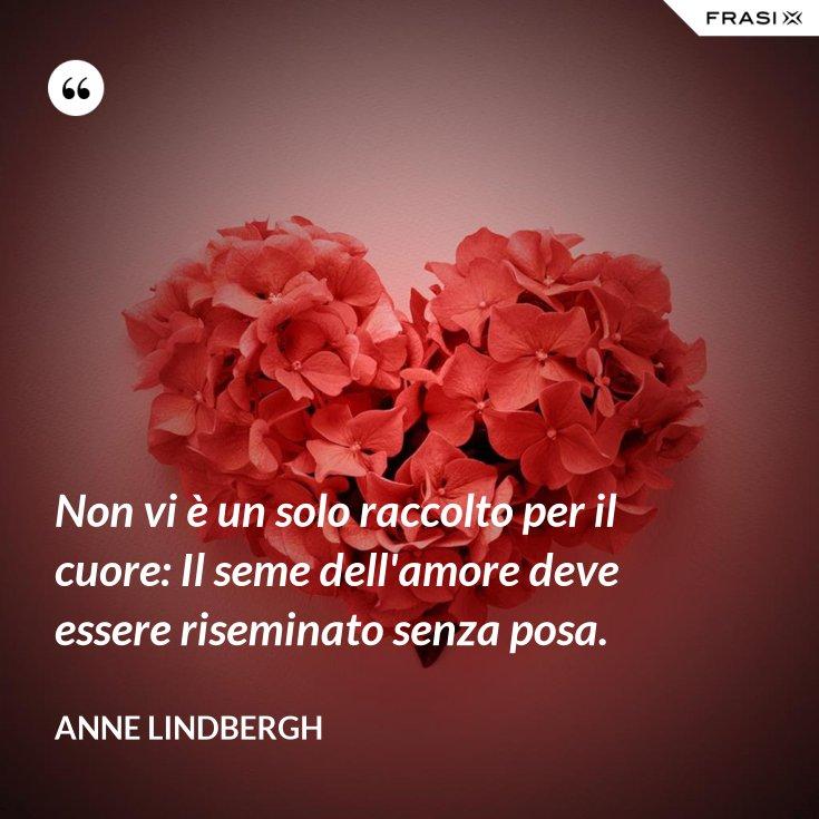 Non vi è un solo raccolto per il cuore: Il seme dell'amore deve essere riseminato senza posa.