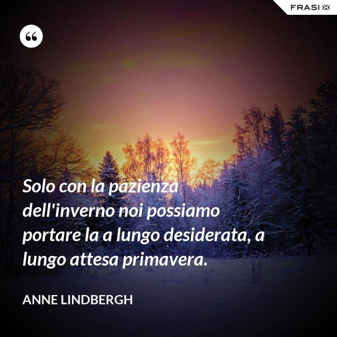 Solo con la pazienza dell'inverno noi possiamo portare la a lungo desiderata, a lungo attesa primavera. - Anne Lindbergh