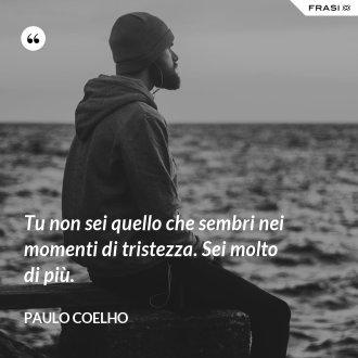 Tu non sei quello che sembri nei momenti di tristezza. Sei molto di più. - Paulo Coelho