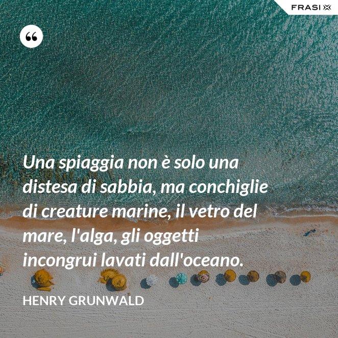 Una spiaggia non è solo una distesa di sabbia, ma conchiglie di creature marine, il vetro del mare, l'alga, gli oggetti incongrui lavati dall'oceano.