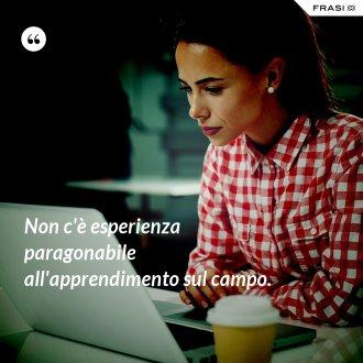 Non c'è esperienza paragonabile all'apprendimento sul campo.