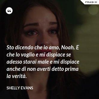 Sto dicendo che io amo, Noah. E che lo voglio e mi dispiace se adesso starai male e mi dispiace anche di non averti detto prima la verità. - Shelly Evans